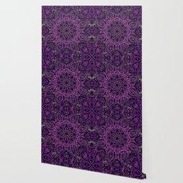 Purple Eggplant Paisley Mandala Wallpaper