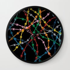 Trapped on Black Wall Clock