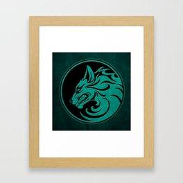 Teal Blue Growling Wolf Disc Framed Art Print