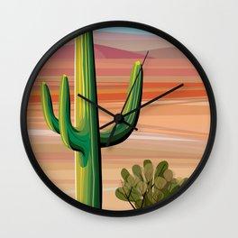 Saguaro Cactus in Desert Wall Clock