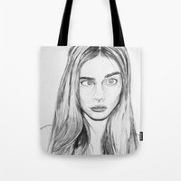 cara Tote Bags featuring Cara by Chris Watts Art