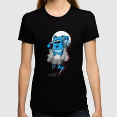 StormBot - Blue Robot Womens Fitted Tee SMALL Black