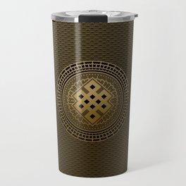 Gold Endless Knot  in Mandala Decorative Shape Travel Mug