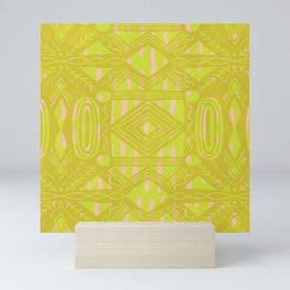 vintage kantha: chartreuse Mini Art Print
