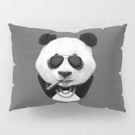 Panda in Black Pillow Sham