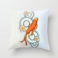 koi fish Throw Pillows featuring Koi Fish by Eleni Kakoullis