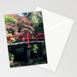 Red bridge at Kubota Garden Stationery Cards