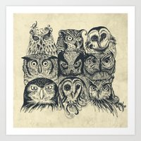 band Art Prints featuring Nine Owls by Rachel Caldwell