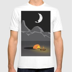Camping under the moon MEDIUM White Mens Fitted Tee