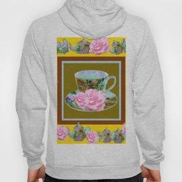YELLOW ANTIQUE BLUE PORCELAIN TEA SET & PINK ROSES Hoody
