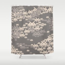 Space Invader Camo Shower Curtain