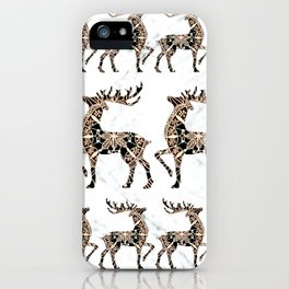 Marbled Black and Rose-Gold Mandala Reindeer Textile iPhone Case