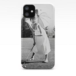 Audrey Hepburn Playing Golf, Black and White Vintage Art iPhone Case
