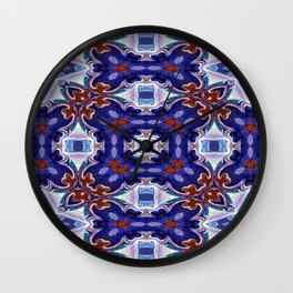 A Little Bit Country Blue Floral Pattern Wall Clock