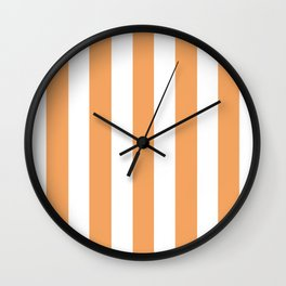 Sandy brown pink - solid color - white vertical lines pattern Wall Clock