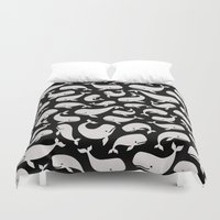 dick Duvet Covers featuring Moby Dick - Black Pearl by Drivis