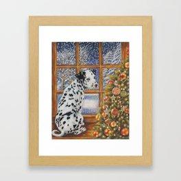 Christmas Dog Art - Dalmatian Puppy by the Christmas Tree Framed Art Print