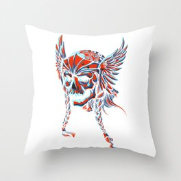 Death Flying Skull Throw Pillow
