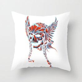 Death Flying Skull Throw Pillow
