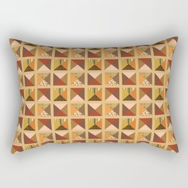 QUILT PATTERN, RUST Rectangular Pillow