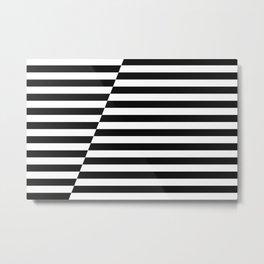 Black and White Offset Stripes Metal Print