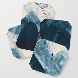 Against the Current [2]: A bold, minimal abstract acrylic piece in blue, white and gold Coaster