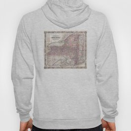 Vintage New York State Railroad Map (1876) Hoody