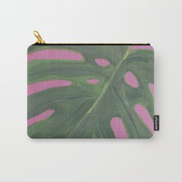Gouache Monstera Leaf with pink background Carry-All Pouch