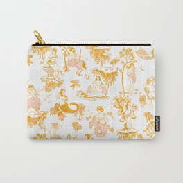 Astrology-Inspired Zodiac Gold Toile Pattern Carry-All Pouch