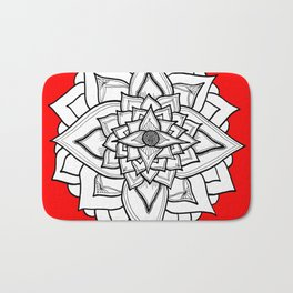 Red Black and White Geometric Flower Bath Mat