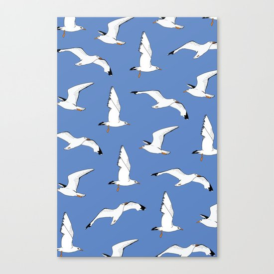 Gathering Seagulls at the Cricket Canvas Print