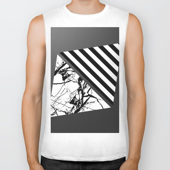 Stripes N Marble 3 - Abstract Black and white stripes and marble textured triangles on metallic Biker Tank