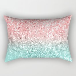 Summer Vibes Glitter #3 #coral #mint #shiny #decor #art #society6 Rectangular Pillow