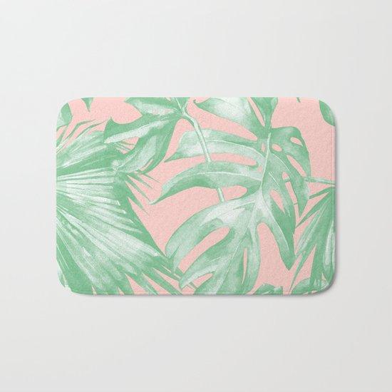 Island Love Seashell Pink Coral + Green Bath Mat