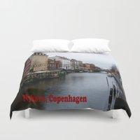 copenhagen Duvet Covers featuring Nyhavn, Copenhagen  by Created by Eleni
