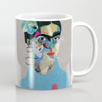 frida Mugs featuring Frida by Zaneta Antosik