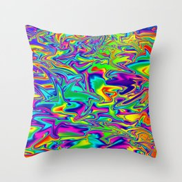 Color Chaos Multi-Colored Digital Illustration - Fluid Art Throw Pillow