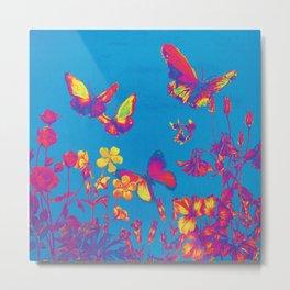 Blue Butterflies & Flowers Metal Print