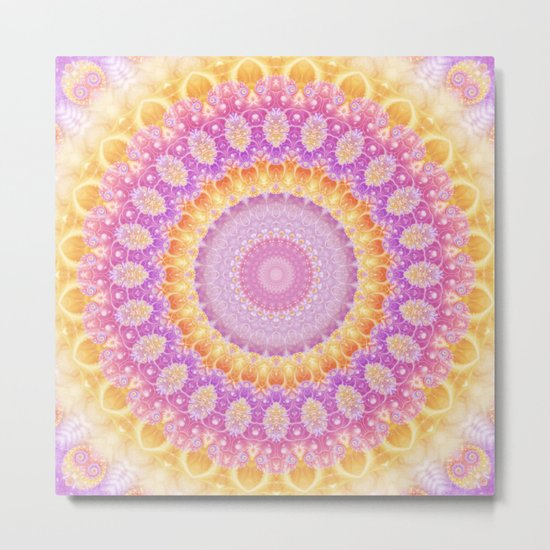 Mandala of Summer in Pink, Orange and Purple Metal Print