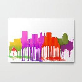 Baltimore, Maryland Skyline - Puddles Metal Print