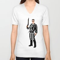 terminator V-neck T-shirts featuring The Terminator by Ayse Deniz