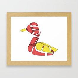 Papercraft Duck - Broken apart 3D paper model of mother goose Framed Art Print