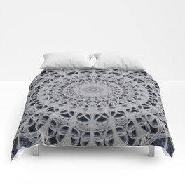 Gray and blue mandala Comforters