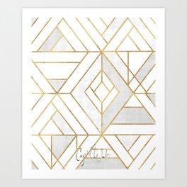Nola Mod Mosaic - White gray gold Art Print