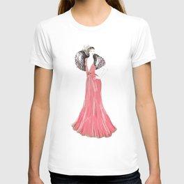 Fashion illustration 1920's dress in pink T-shirt