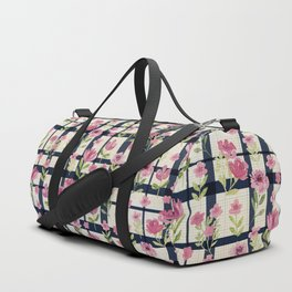 Sweetly Pink & Navy Vintage Plaid Duffle Bag