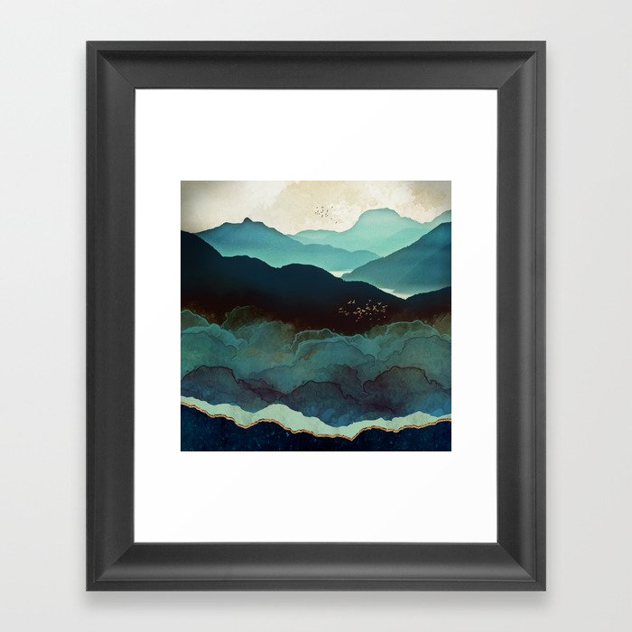 Indigo Mountains Framed Art Print