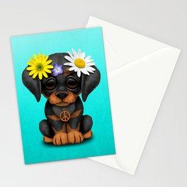 Cute Doberman Puppy Hippie Stationery Cards