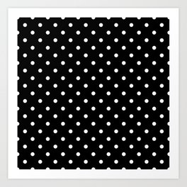 Licorice Black with White Polka Dots Art Print