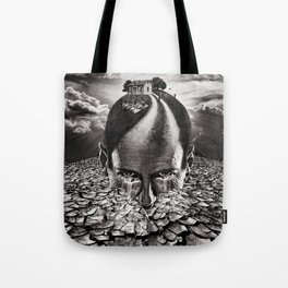 Inhabited Head Grayscale Tote Bag